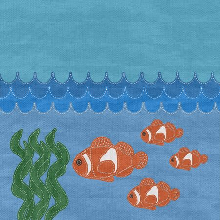 Fish under water with stitch style on fabric background Stock Photo - 17537480