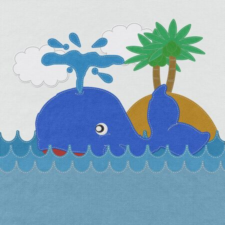 Cute Smiling Whale with stitch style on fabric background photo