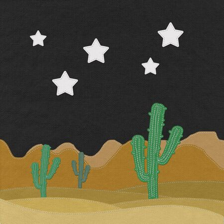 mirage: Cactus in the desert with stitch style on fabric background
