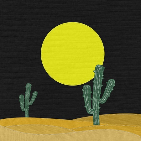 Cactus in the desert with stitch style on fabric background photo