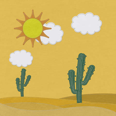 arid climate: Cactus in the desert with stitch style on fabric background