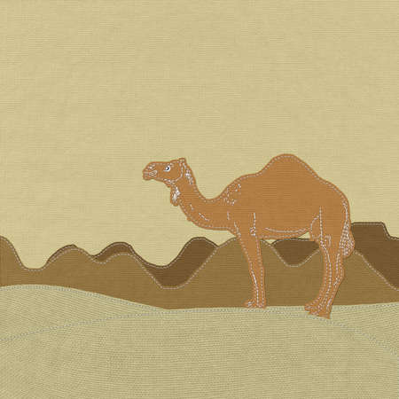 wilds: Lone Camel in the Desert sand with stitch style on fabric background Stock Photo