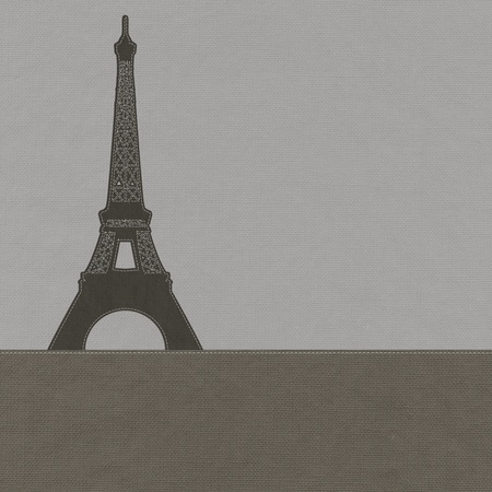 Eiffel tower, Paris. France in stitch style on fabric background photo