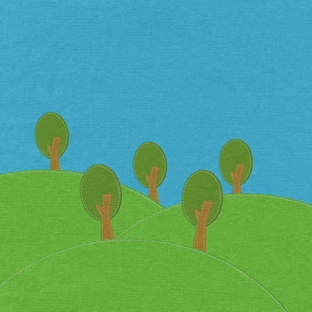 Spring landscape with stitch style on fabric background Stock Photo