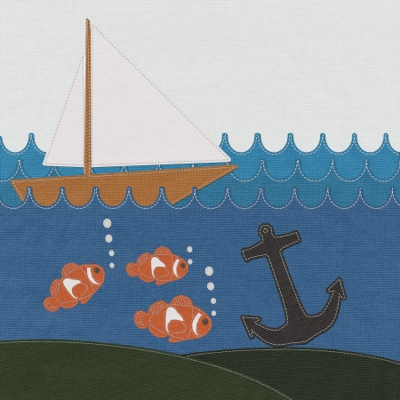 Anchor under the ocean with stitch style on fabric background photo