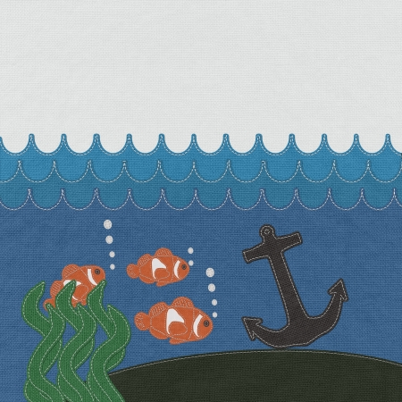 Anchor under the ocean with stitch style on fabric background