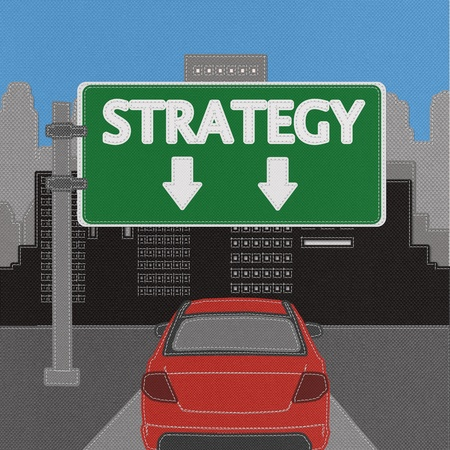 Strategy sign concept with stitch style on fabric background Stock Photo - 18251927
