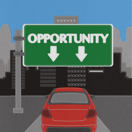Opportunity highway sign concept with stitch style on fabric background Stock Photo - 18251928