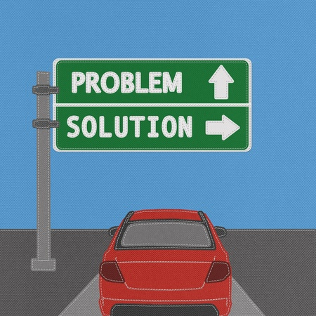 Problem and solution highway sign concept with stitch style on fabric background Stock Photo - 18251916