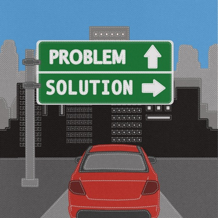 Problem and solution highway sign concept with stitch style on fabric background Stock Photo - 18251938