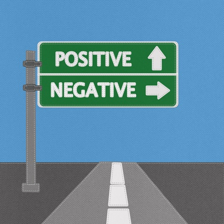 Positive and negative highway sign concept with stitch style on fabric background photo
