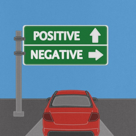 pessimist: Positive and negative highway sign concept with stitch style on fabric background