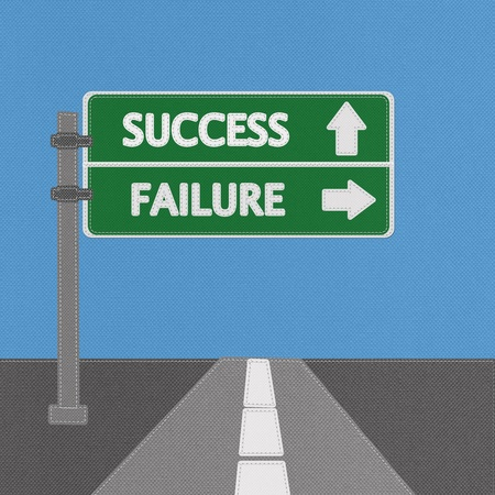 Success and failure highway sign concept with stitch style on fabric background Stock Photo - 18251904