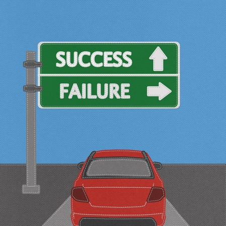 Success and failure highway sign concept with stitch style on fabric background photo