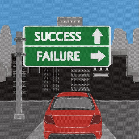 Success and failure highway sign concept with stitch style on fabric background Stock Photo - 18251937