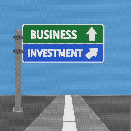 Business investment highway sign concept with stitch style on fabric background Stock Photo - 18251907
