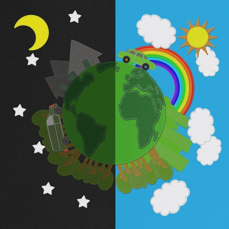 windturbine: Ecology day and night concept with stitch style on fabric background