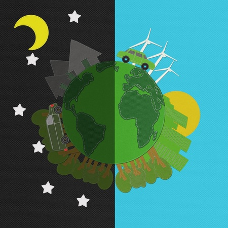 Ecology day and night concept with stitch style on fabric background photo