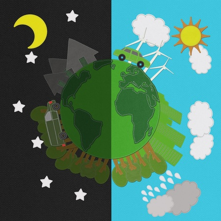stitching: Ecology day and night concept with stitch style on fabric background