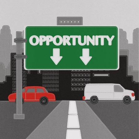 Opportunity sign concept with stitch style on fabric background photo