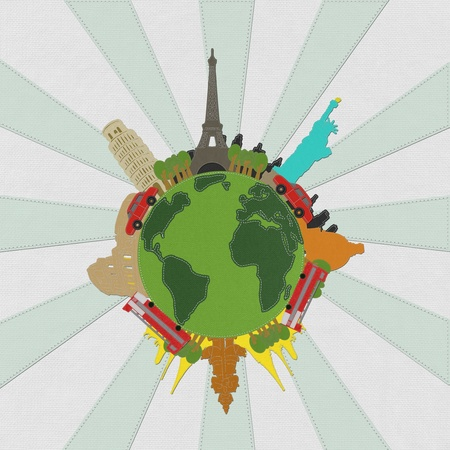 World travel concept with stitch style on fabric background  photo