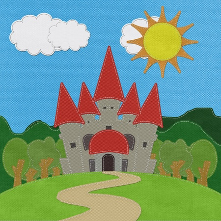 fable: Fairy-tale castle on a green field with stitch style on fabric background