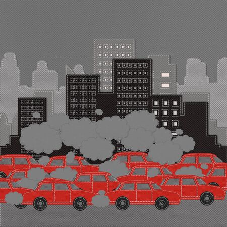 stop pollution: Building and car with stitch style on fabric background