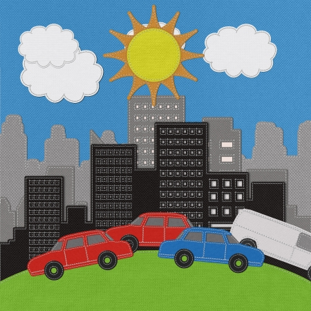 Building and car with stitch style on fabric background photo