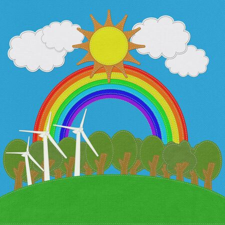 windturbine: ECO concept with stitch style on fabric background