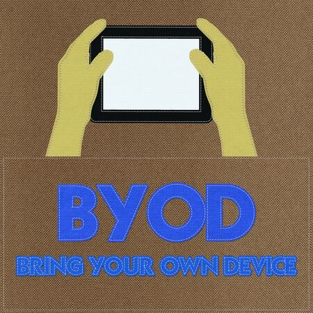 bring: Bring Your Own Device concept with stitch style on fabric background