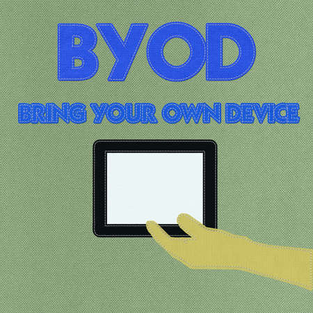 Bring Your Own Device concept with stitch style on fabric background photo