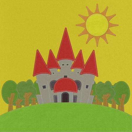 castillos de princesas: Castillo de cuento de hadas en un campo verde con estilo puntada en fondo de la tela