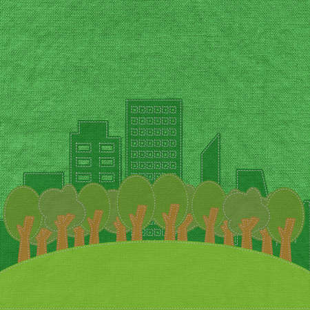 ECO concept with stitch style on fabric background photo