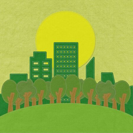 fashion building: ECO concept with stitch style on fabric background