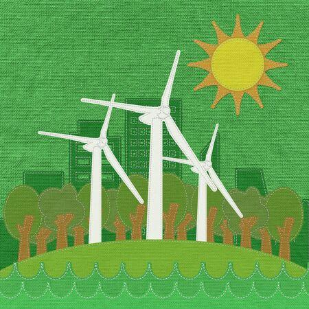 desarrollo sustentable: Concepto ECO con estilo puntada en fondo de la tela