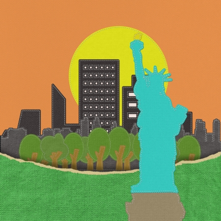 hudson river: Statue of Liberty in stitch on fabric background