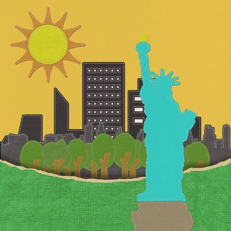 hudson: Statue of Liberty in stitch on fabric background
