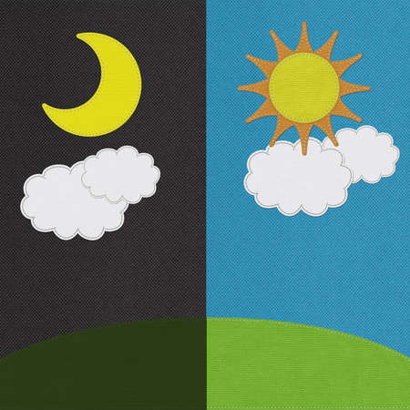 Weather seasonal concept in stitch style on fabric background photo
