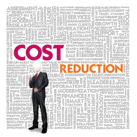 cost reduction: Business word cloud for business and finance concept, Cost Reduction Stock Photo