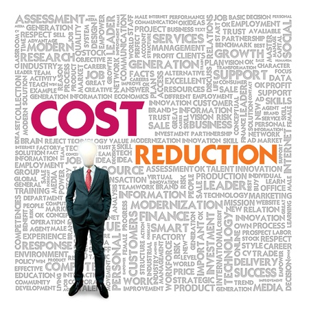 Business word cloud for business and finance concept, Cost Reduction photo