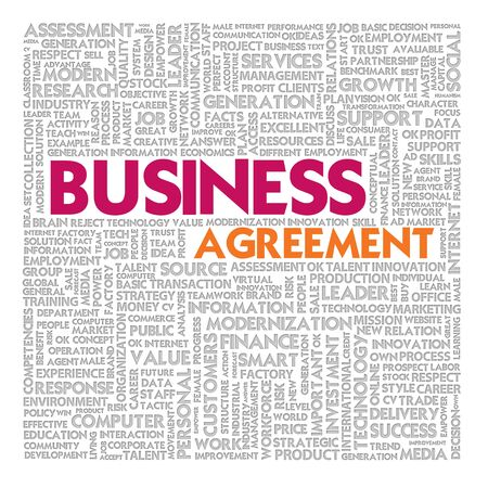 Business word cloud for business and finance concept, Business contract photo