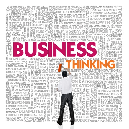 Business word cloud for business and finance concept, Business thinking photo