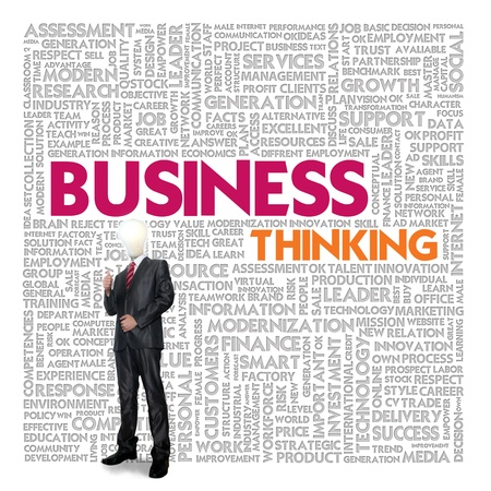 mind power: Business word cloud for business and finance concept, Business thinking Stock Photo