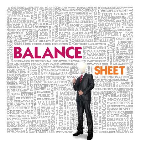 contabilidad financiera cuentas: Negocios nube de palabras para los negocios y las finanzas concepto, Balance