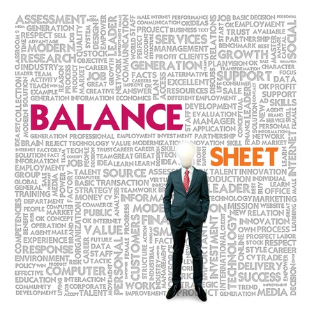 Business word cloud for business and finance concept, Balance sheet photo