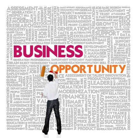 Business word cloud for business and finance concept, Business Opportunity photo