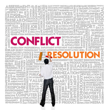 motivating: Business word cloud for business and finance concept, Conflict Management Stock Photo
