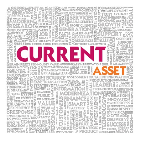 Business word cloud for business and finance concept, Current asset photo