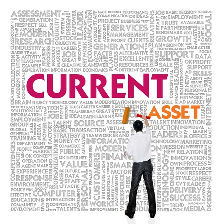 cash flow statement: Business word cloud for business and finance concept, Current asset Stock Photo