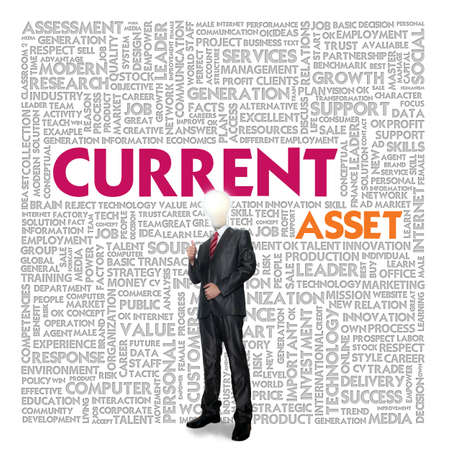current: Business word cloud for business and finance concept, Current asset Stock Photo